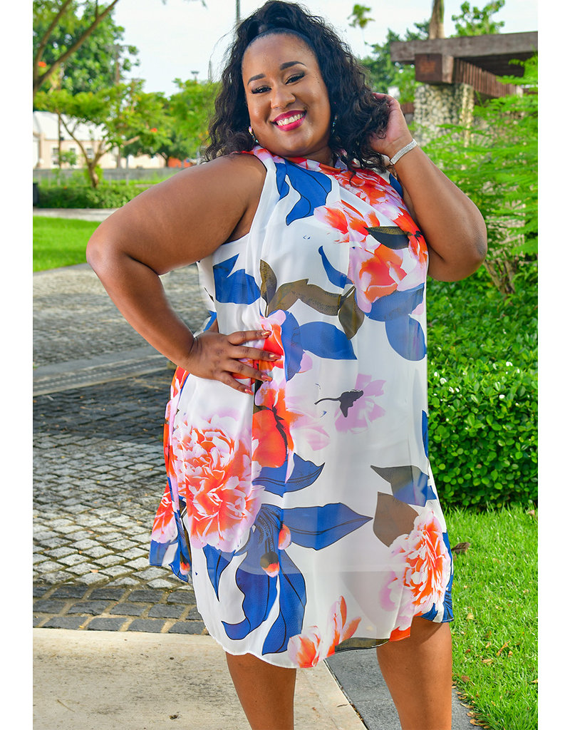 Signature FLAVIA- Plus Size Floral Print Dress with Overlay