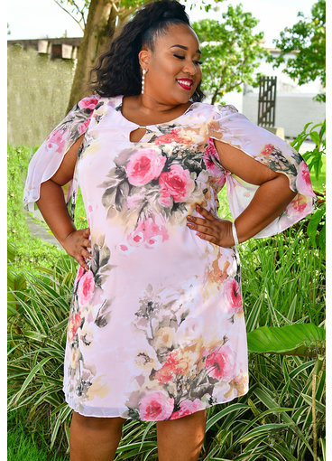 FRODIA- Plus Size Three Quarter Sleeve Floral Print Dress