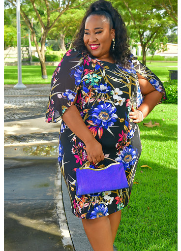 YESIA- Plus Size Printed Three Quarter Sleeve Dress