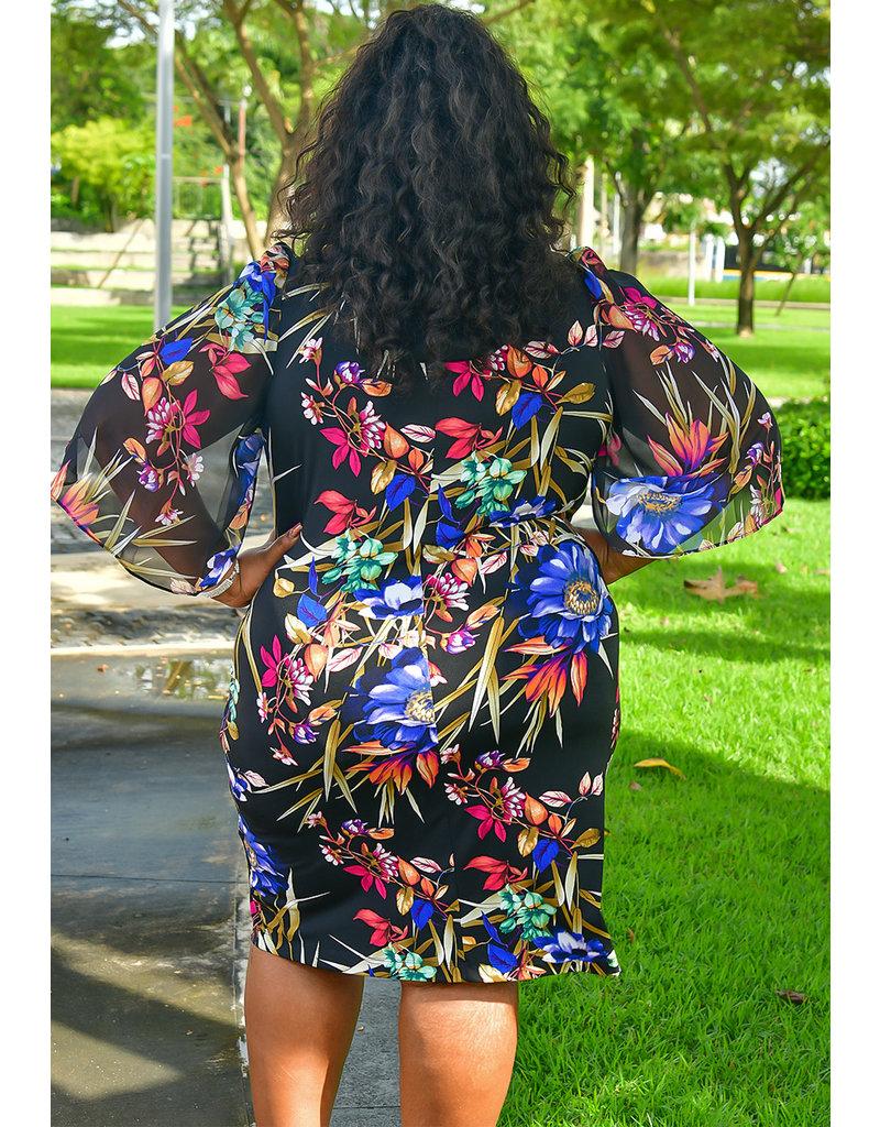 YESIA- Plus Size Printed Three Quarter Sleeve Dress