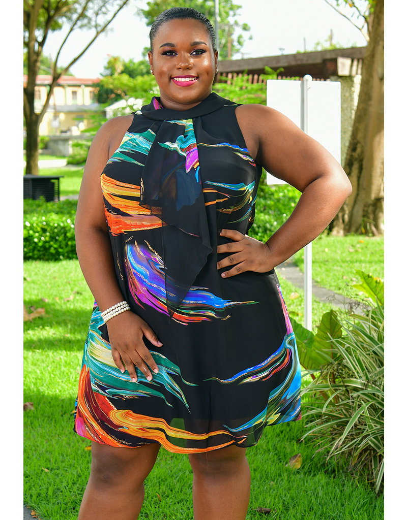 Signature FILAND- Plus Size Foil Print Dress