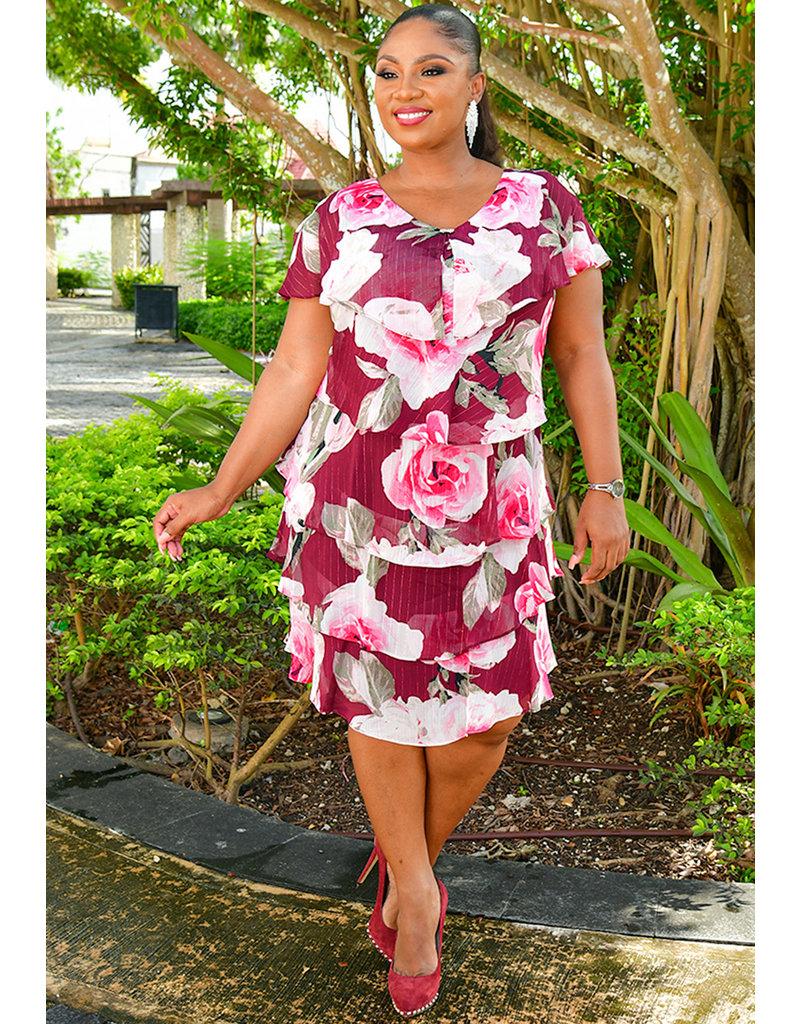 FELICIDAD- Layered Floral Dress