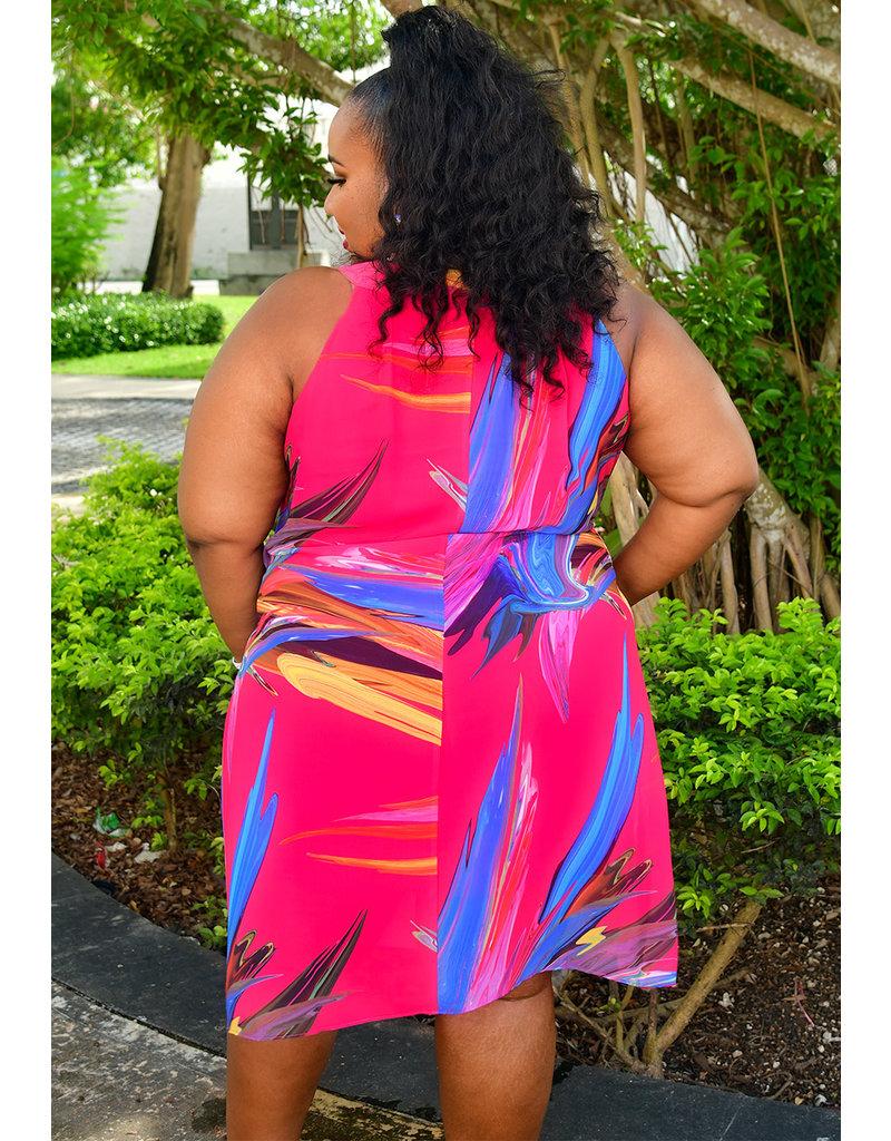 Signature FREDLA- Plus Size Printed Pleated Shift Dress