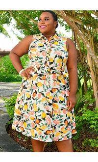 KEMANI- Plus Size Printed Button Down Shirt Dress