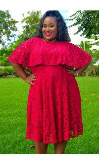 LIZA- Plus Size Cape Lace Dress