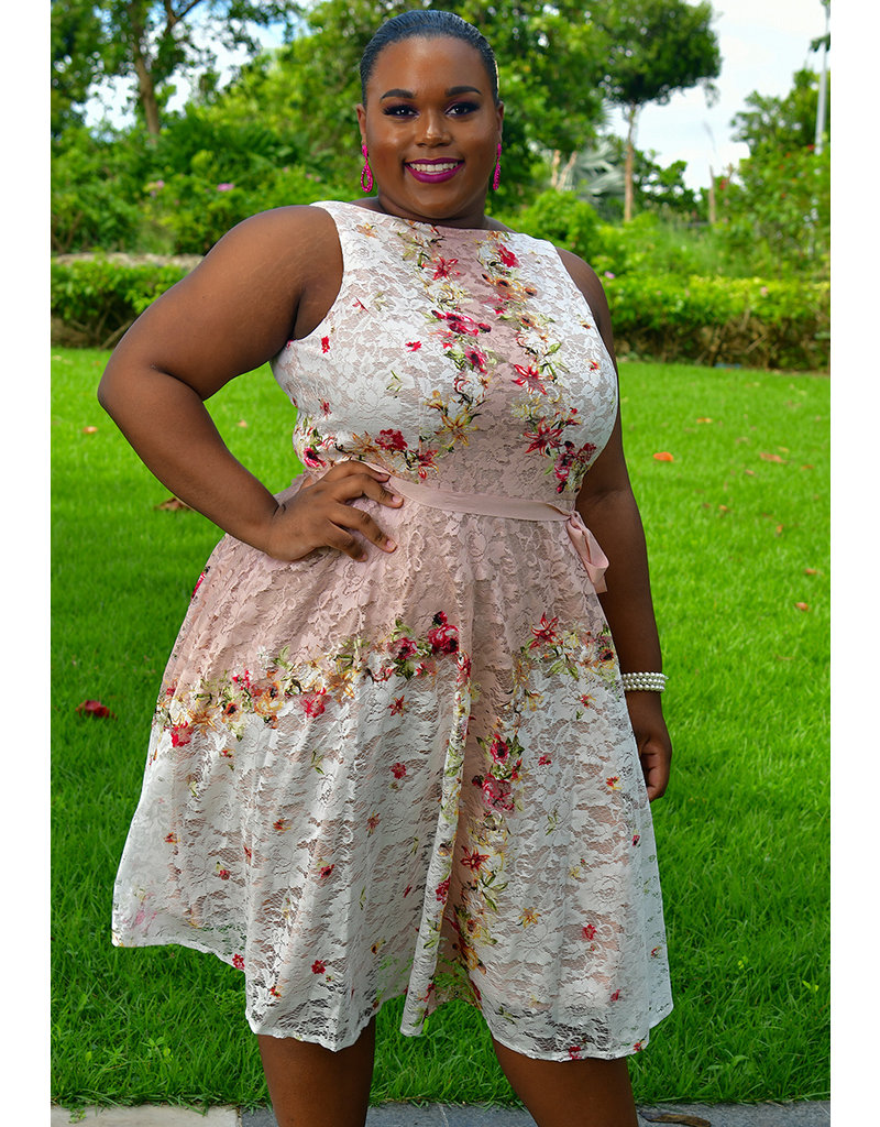 LINDY- Plus Size Lace floral Fit and Flare Dress