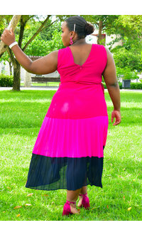 RECI- Plus Size Colour Block Pleated Dress