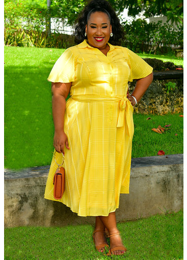 RESANI-Plus Size Button Down Dress with Sash at Waist