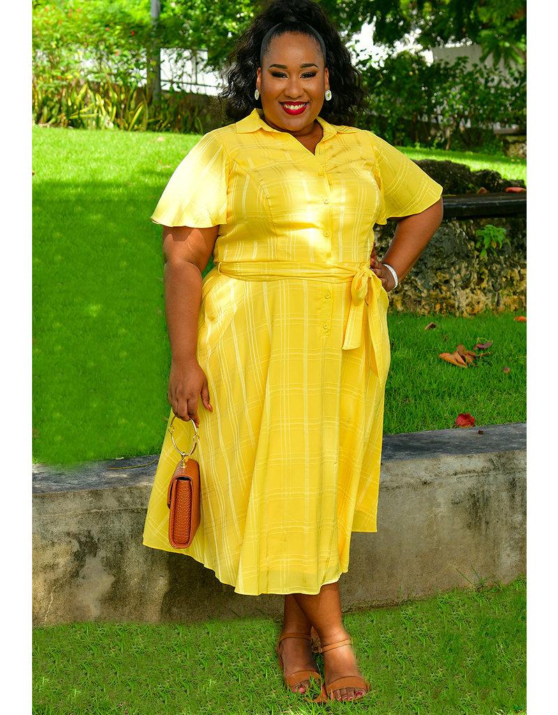 RESANI-Plus Size Button Down Dress with Sash at Waist