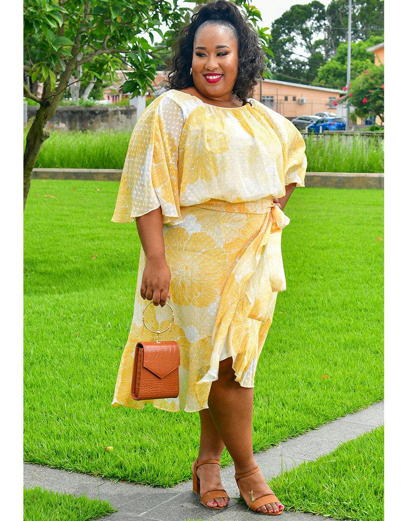 Maison Tara FANETA- Plus Size Printed Faux Wrap Dress