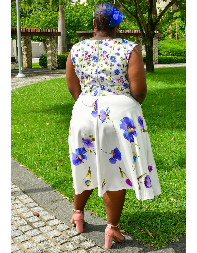 UMALI- Plus Size Printed Fit & Flare Dress