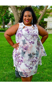 FAITH- Plus Size Chiffon Pearls and V-Neck Dress