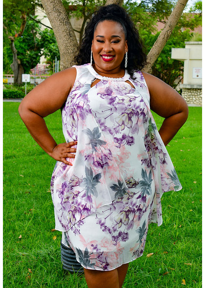 FAITH- Plus Size Chiffon Pearls and V-Neck Dress