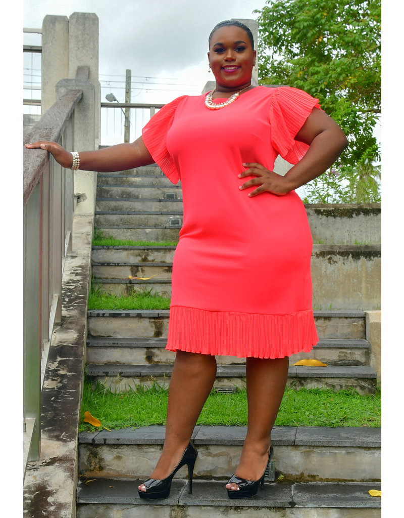 GLAMOUR RECIE- Plus Size Round Neck Dress with Steam Pleat Sleeves