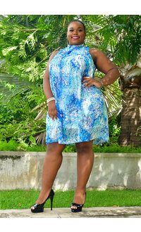 Signature FLAVIA- Plus Size Floral Puff Print Dress with Overlay
