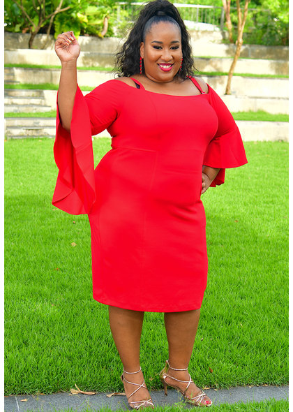 UMEKO-Plus Size  Off the Shoulder Three Quarter Sleeve Dress
