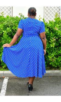 RIANNE- Plus Size Polka Dot Dress with Frills