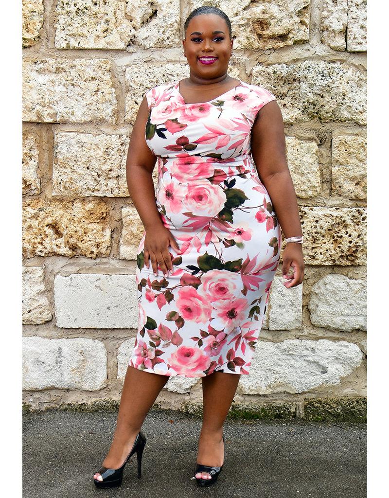 ISHANIE- Plus Size Floral Print Cowl Neck Dress