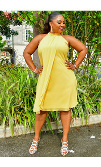 FLAVA- Chiffon Halter Neck Overlay Dress