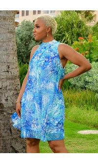Signature FLAVIA- Puff Print Mock Neck Dress