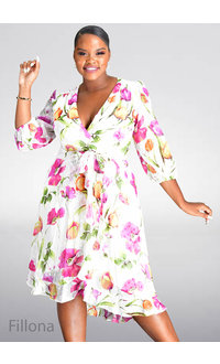FILLONA- Floral Faux Wrap Dress with Ruffle Hem