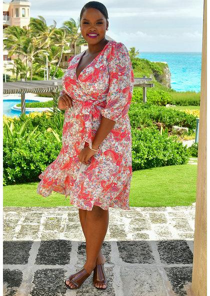 FRED- Printed Chiffon Faux Wrap Dress
