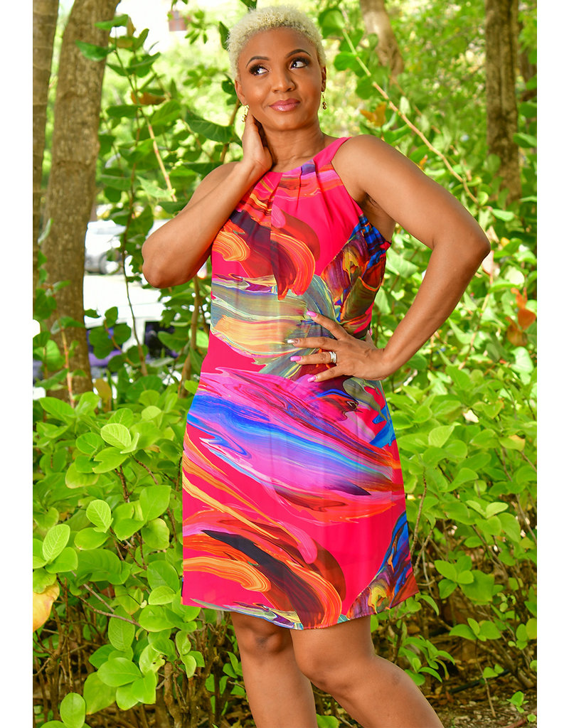 Signature FREDLA- Printed Pleated Shift Dress