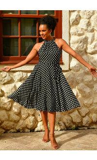 REHINA- Halter Polka Dot Dress