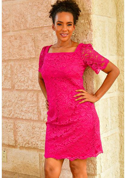 Jessica Howard LENNA- Lace Short Sleeve Dress