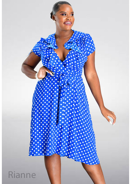 RIANNE- Polka Dot Dress with Frill Lap