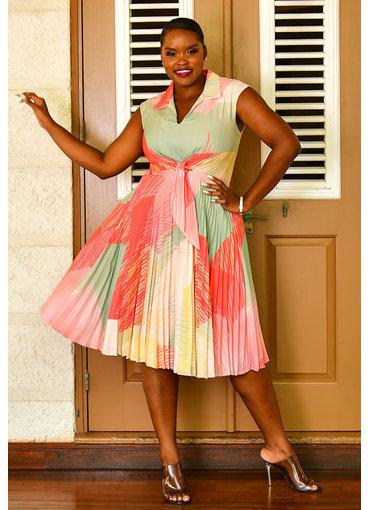 Maison Tara ROUX- Steam Pleat Printed Dress