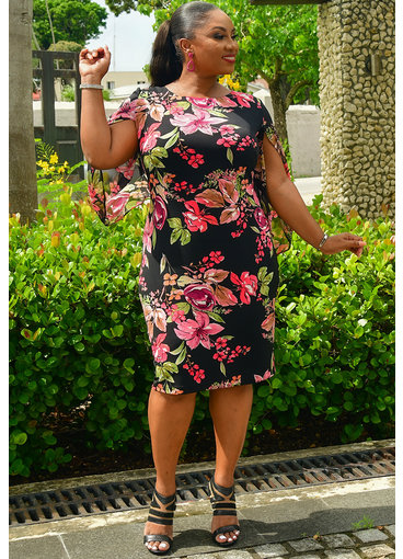 YESIA- Plus Size Printed Split Kimono Sleeve Dress