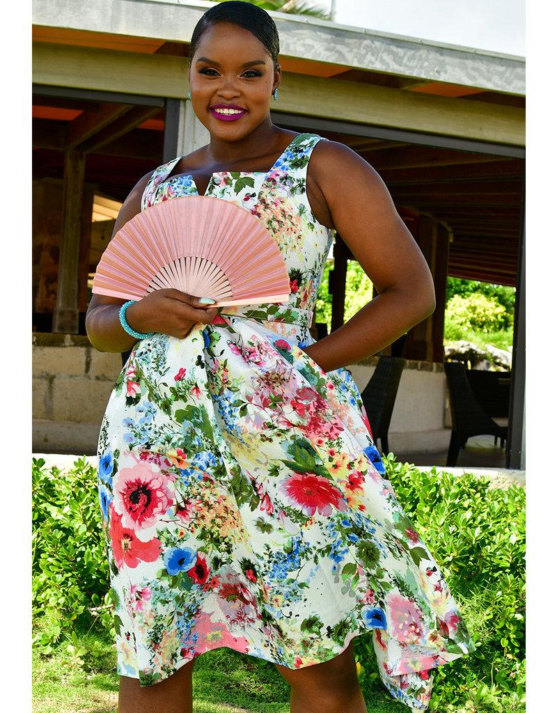 XRIA- Floral Square Neck Dress
