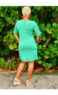 RIVINA- Sheath Dress with Drawstring Sleeves