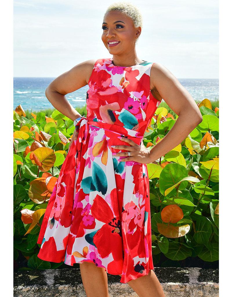 RISHEENA- Floral Print Fit & Flare Dress