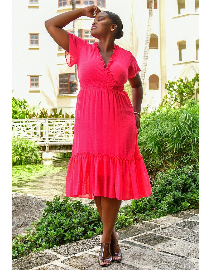 FERNIA- Chiffon Dress with Elastic at Waist