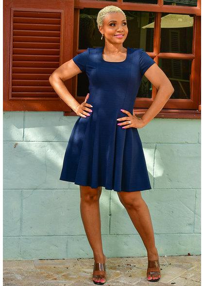 EMANU- Fit & Flare Short Sleeve Dress