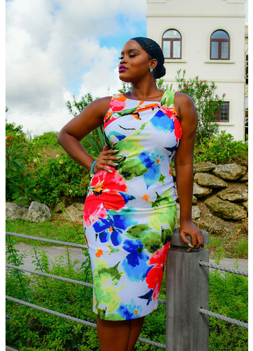 RACEIN- Printed Dress with Knot at the Bust