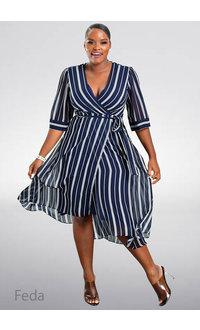 FEDA- Hi-Lo Dotted Stripe Dress