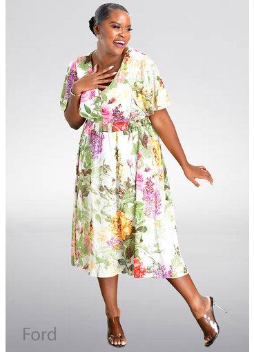 Maison Tara FORD- V-Neck Dress with Frill Sleeves