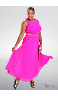 Shelby Nites RIANA- Long Pleated Dress with Belt