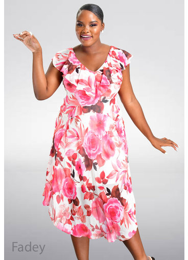 FADEY- Floral Print Cape Dress