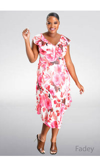 FADEY- Floral Print Cape Dress