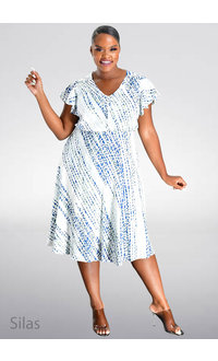 Maison Tara SILAS- V-Neck Printed Frill Sleeve Dress