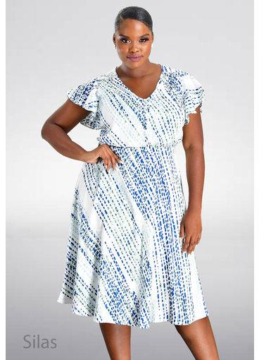 Maison Tara SILAS- V-Neck Printed Frill Sleeve Dress