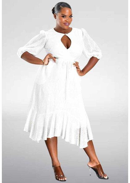 FILANA- Balloon Sleeve Keyhole Dress