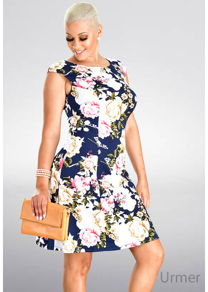 URMER- Armhole Floral Fit & Flare Dress
