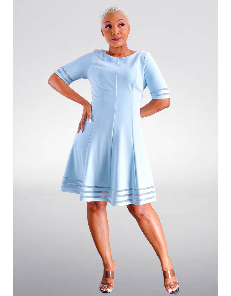 Jessica Howard RESALU- Fit & Flare Net Strip Hem Dress