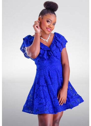 Carolina LIAM- Petite Double Frill V-Neck Dress