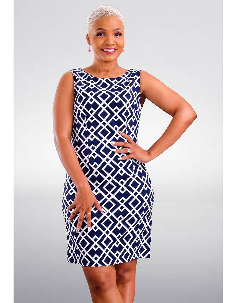 GANFNA- Geo Print Sheath Dress